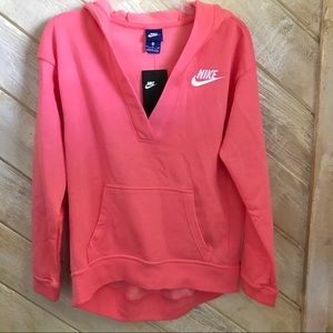 NWT NIKE Women's XL V-Neck Hoodie Sweatshirt Pink
